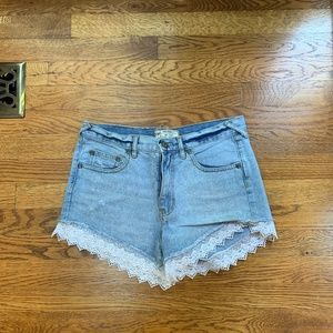 Free People High Waisted Jean Shorts with Lace